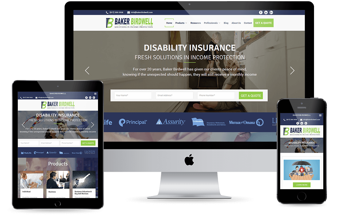 Baker Birdwell homepage design by Equity Web Solutions