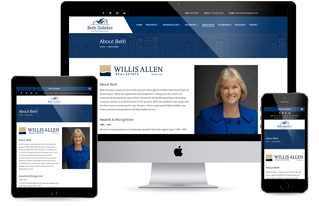 Beth Zedakar About page design by Equity Web Solutions