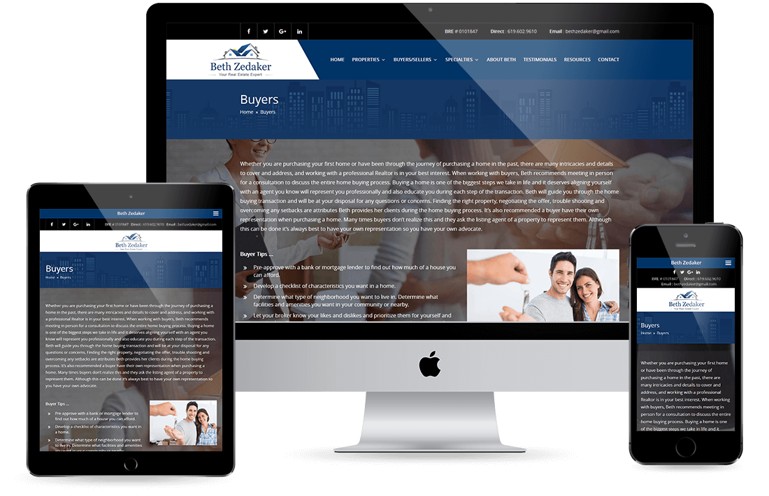 Beth Zedakar Buyers page Design by Equity Web Solutions