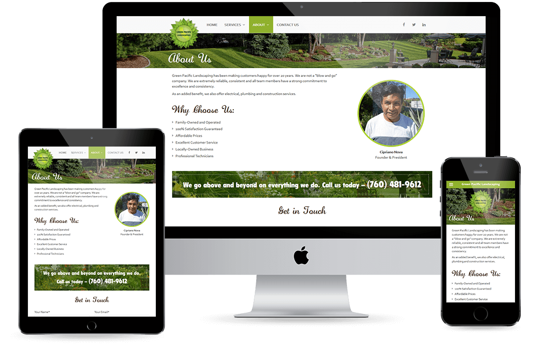Green Pacific Landscaping About Us Page design by Equity Web Solutions
