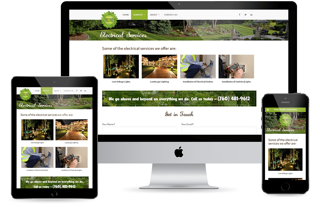 Green Pacific Landscaping Service Page design by Equity Web Solutions