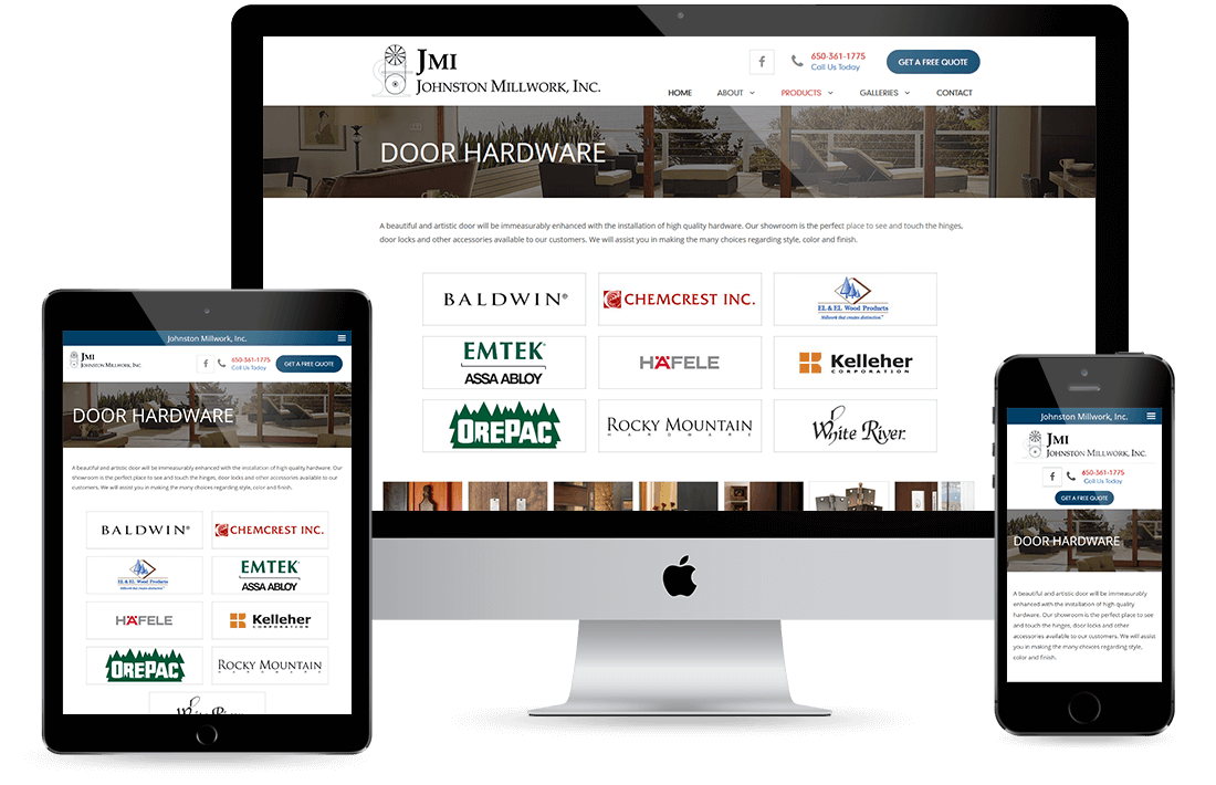 Johnston Millwork Inc. door hardware page design by Equity Web Solutions