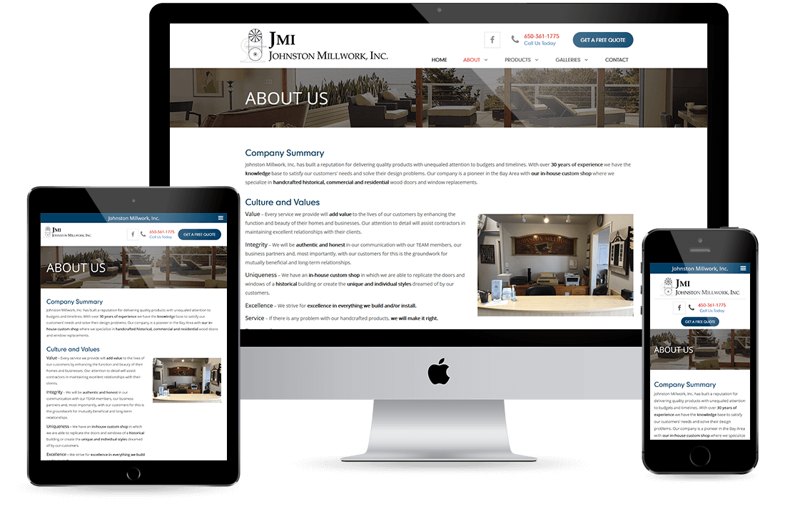 Johnston Millwork Inc. About Us page design by Equity Web Solutions