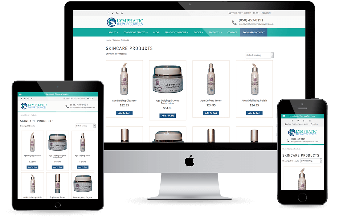 Lymphatic Therapy Services Product Page design by Equity Web Solutions