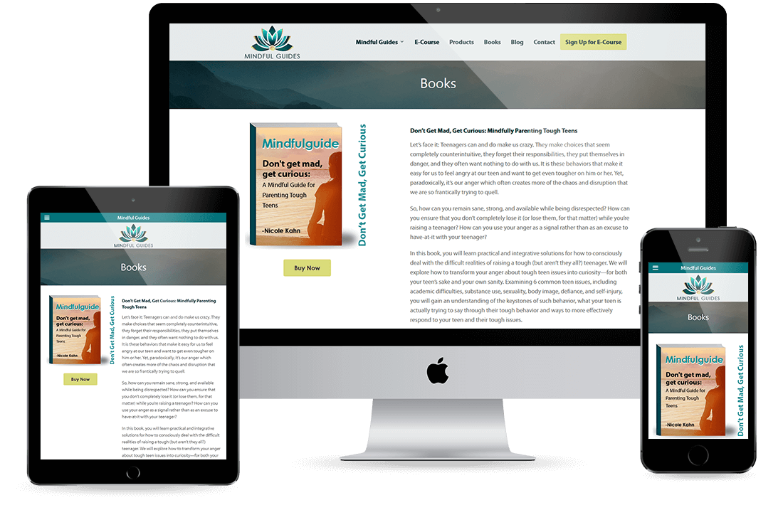 Mindful Guides Books Page design by Equity Web Solutions