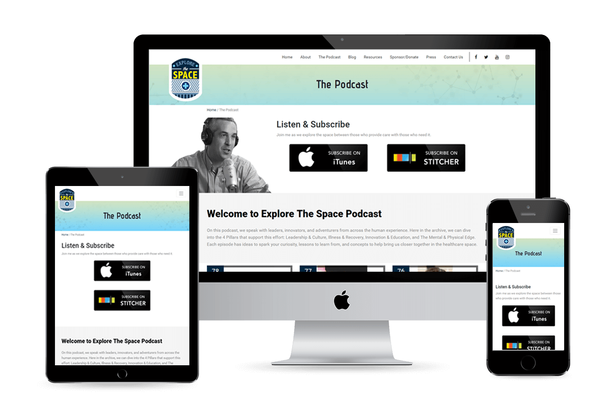 Explore The Space Podcast page design by Equity Web Solutions