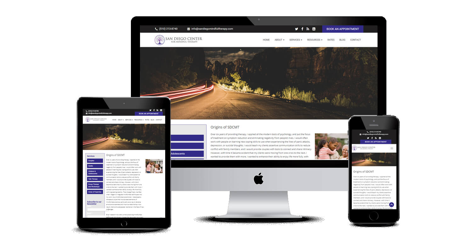 San Diego Center Service page design by Equity Web Solutions