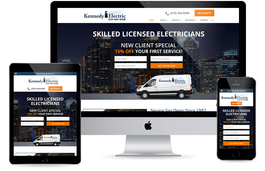 Tom Kennedy Electric Portfolio design by Equity Web Solutions