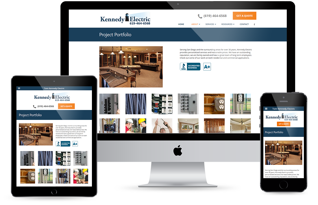 Tom Kennedy Electric Project Portfolio design by Equity Web Solutions